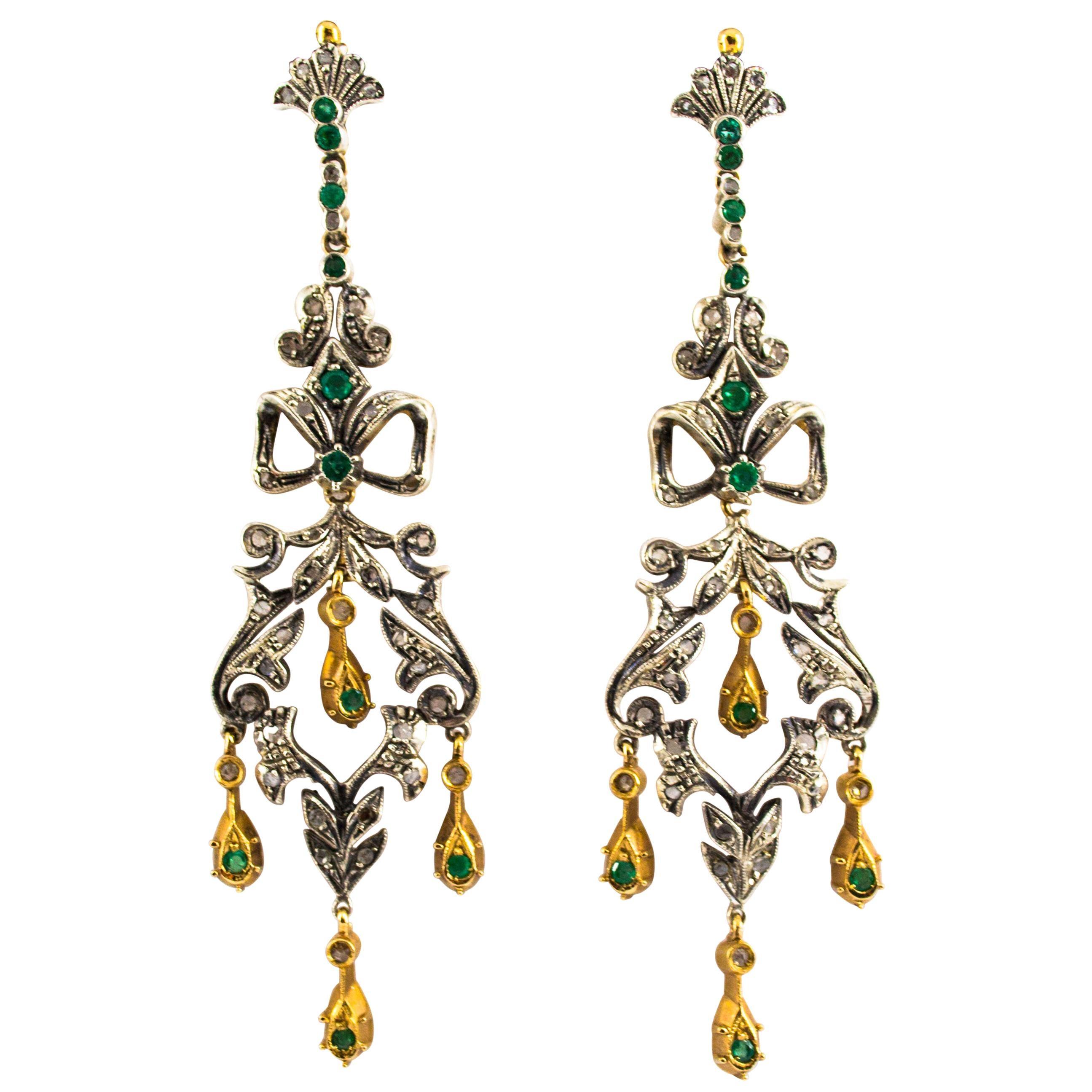 1.10 Carat Emerald 0.60 Carat White Diamond Yellow Gold Lever-Back Earrings