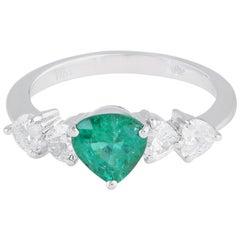 1.10 Carat Emerald Diamond 18 Karat White Gold Ring