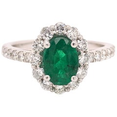 1.10 Carat Emerald Diamond Halo Ring