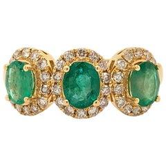 1.10 Carat Emerald Diamond Trinity Ring