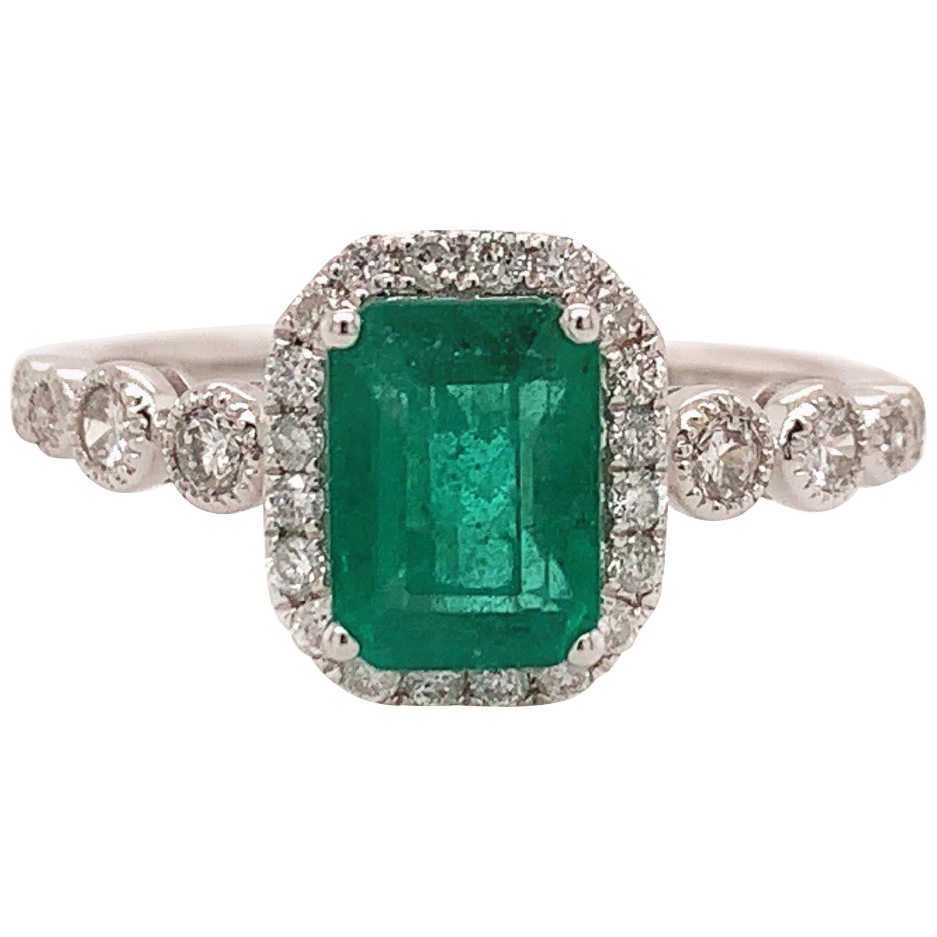 1.10 Carat Emerald White Gold Cocktail Ring