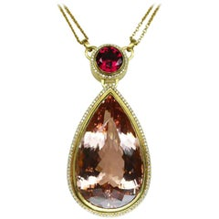 110 Carat Morganite Rubelite and Diamond Gold Necklace Fine Estate Jewelry