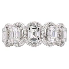 1.10 Carat Multi Baguette Diamond Frame Ring in 18 Karat White Gold