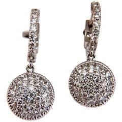 1.10 Carat Natural Diamonds Dangle Earrings 14 Karat Circle Dangles