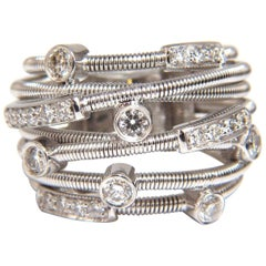 1.10 Carat Natural Diamonds Multi Crossover Ring 18 Karat Coil Wrap Bands