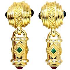 1.10 Carat Natural Emerald Ruby Sapphire Byzantine 18 Karat Dangle Earrings