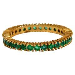 1.10 Carat Natural Round Emeralds Eternity Ring 14 Karat