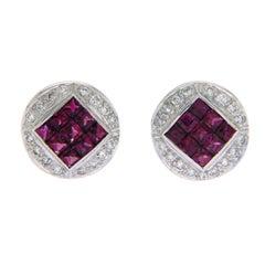 1.10 Carat Natural Ruby 0.20 Carat Diamonds 18 Karat White Gold Stud Earrings