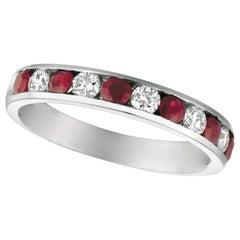 1.10 Carat Natural Ruby and Diamond Ring 14 Karat White Gold