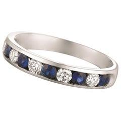 1.10 Carat Natural Sapphire and Diamond Ring 14 Karat White Gold