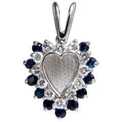 1.10 Carat Natural Sapphire Diamonds Heart Pendant 14 Karat