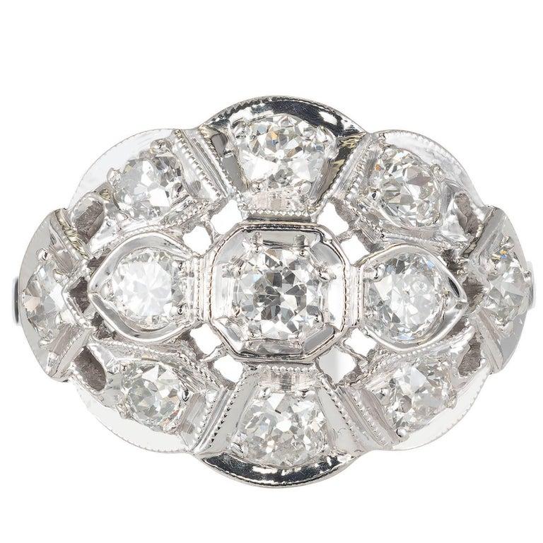 1.10 Carat Old European Diamond Pierced Art Deco Dome Gold Cocktail Ring