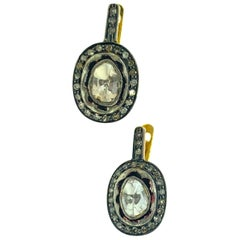 1.10 Carat Old Mine Cut 'Polki' Diamond Earring in Silver, 14 Karat Gold
