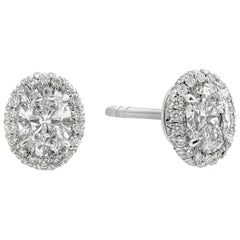 1.10 Carat Oval Cut Diamond Halo Stud Earrings