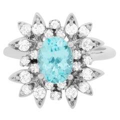 1.10 Carat Paraiba Tourmaline and Diamond Ring