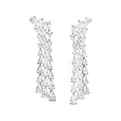 11.0 Carat Pear-Cut Diamond Drop 18 Karat White Gold Chandelier Earrings