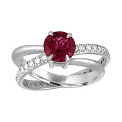 1.10 Carat Pink Tourmaline Diamond Gold Spin Ring
