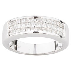1.10 Carat Princess Diamond Plaque Band Ring in White Gold