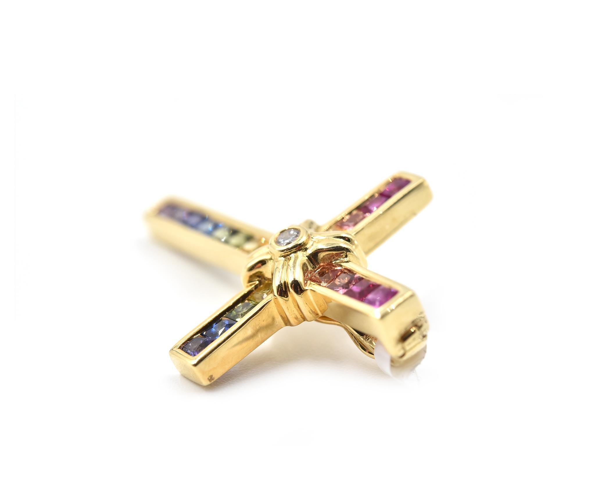 bb3a75467a 1.10 Carat Rainbow Sapphire and Diamond 18 Karat Yellow Gold Cross Pendant  For Sale at 1stdibs