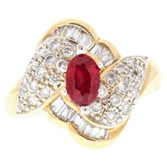 1.10 Carat Red Ruby in 14 Karat Yellow Gold