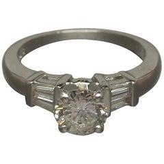 1.10 Carat Round and Baguette Diamond Platinum Ring