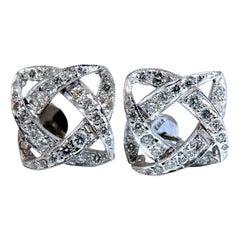 1.10 Carat Round Diamonds Endless Iconic Knot Stud Earrings 14 Karat