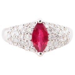 1.10 Carat Ruby and Diamond Engagement Ring Set in Platinum