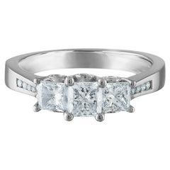 1.10 Carat Total Weight, Platinum Diamond Ring, Princess Cut Center Stones