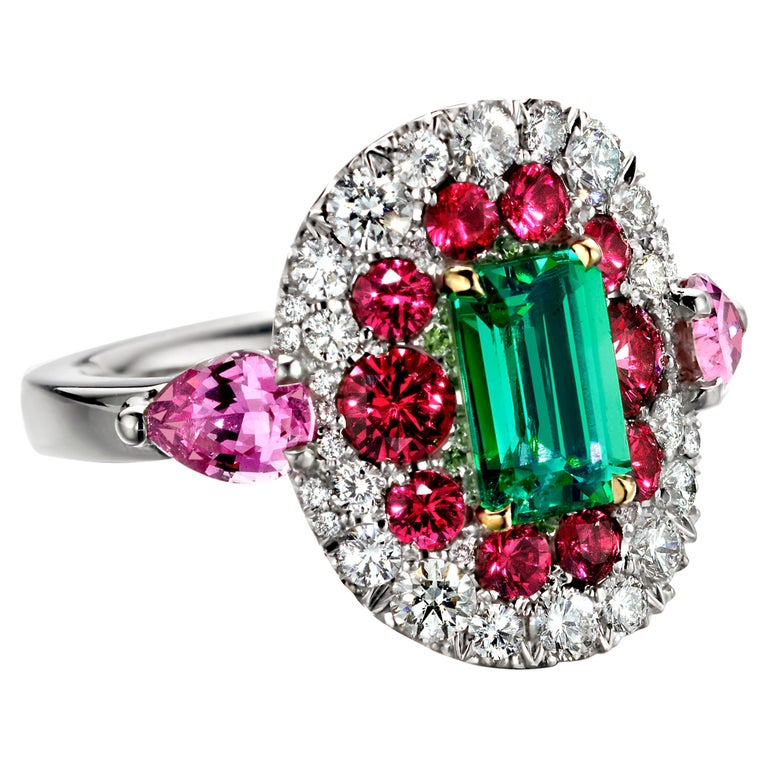 1.10 Carat Unoiled Emerald, Unheated Red Spinel and Pink Sapphire Ring For Sale