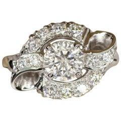 1.10 Carats Round Brilliant Cut Diamond Cocktail Ring