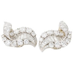 11.00 Carat Diamond and Platinum Swirl Cocktail Day Night Ear Clips