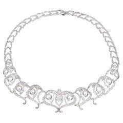 11.00 Carat Diamond Gold Swirl Link Necklace