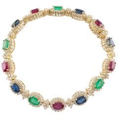 11.00 Carat Diamond, Ruby, Emerald and Sapphire 14 Karat Gold Station Bracelet
