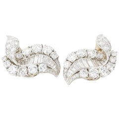 11.00 Carat Diamond Swirl Cocktail Day Night Ear Clips
