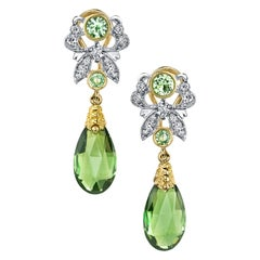 Green Tourmaline, Tsavorite Garnet, Diamond, Yellow, White Gold Dangle Earrings