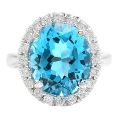 11.00 Carat Impressive Natural Swiss Blue Topaz and Diamond 14K Solid Gold Ring