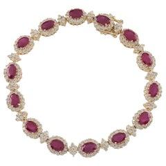 11.00 Carat Ruby and Diamond 14 Karat Yellow Gold Station Bracelet