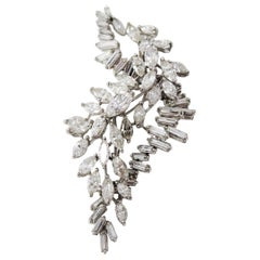 11.00 Carat Total Diamond Waterfall Custom Platinum Pendant Marquise, Baguette