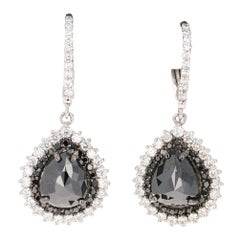 11.02 Carat Black Diamond 14 Karat White Gold Dangle Earrings