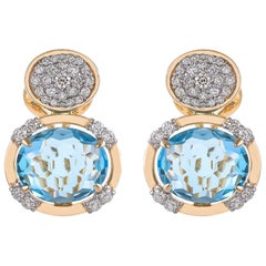 11.04 Carat Cushion Briolette Blue Topaz Diamond 18 Karat Yellow Gold Earring