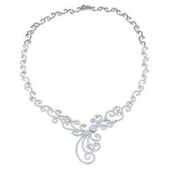 11.04 Carat Diamond Swirl Style Necklace in 18 Karat White Gold