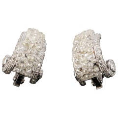 11.05 Carat Diamond Briollete and 18 Karat Gold Clip-On Earrings