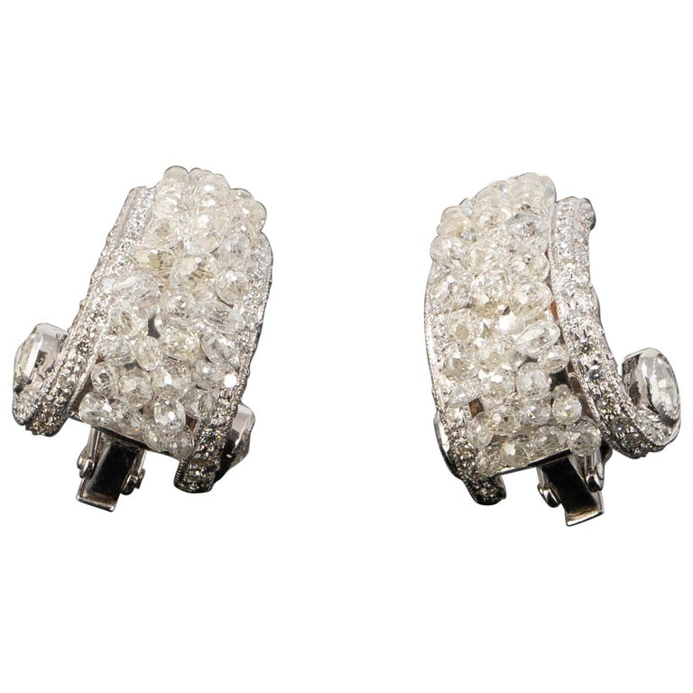 Diamond and white gold briolette clip-on earrings, new