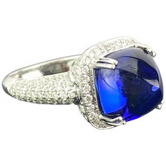 11.05 Carat Sugarloaf Cut Tanzanite and Diamond Engagement Ring