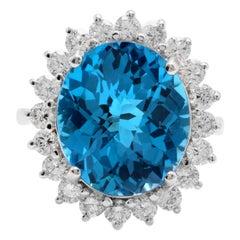 11.05 Ct Impressive Natural Swiss Blue Topaz & Diamond 14K Solid White Gold Ring