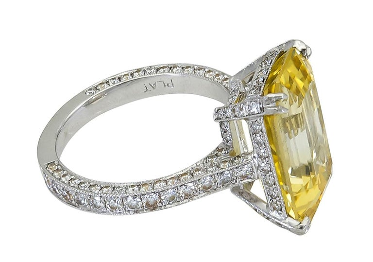 Contemporary 11.06 Carat Emerald Cut Yellow Sapphire and Diamond Engagement Ring For Sale
