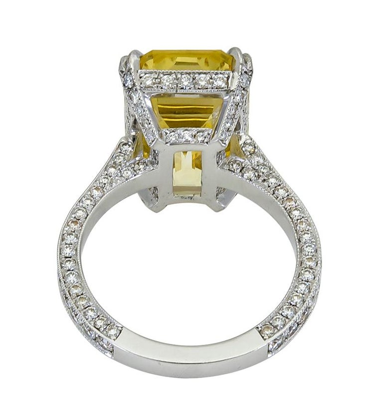 11.06 Carat Emerald Cut Yellow Sapphire and Diamond Engagement Ring In Excellent Condition For Sale In New York, NY