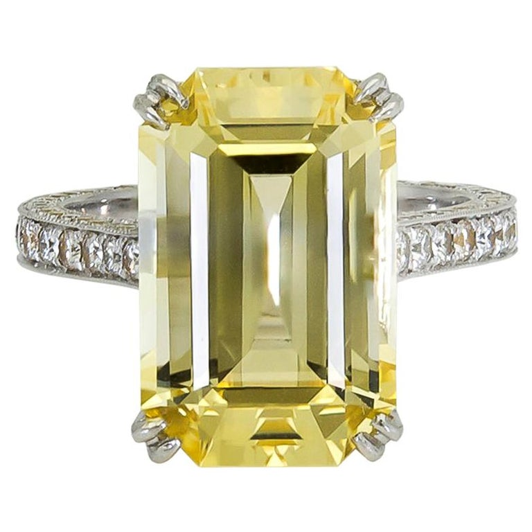11.06 Carat Emerald Cut Yellow Sapphire and Diamond Engagement Ring For Sale