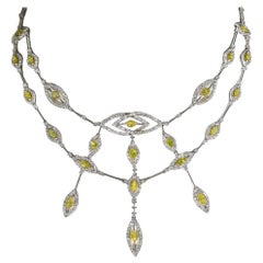 11.06 Carat White and Treated Yellow Diamond Marquise Necklace