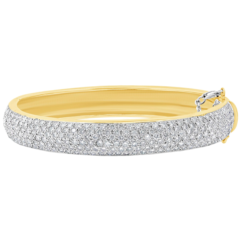 Roman Malakov 11.07 Carat Diamond Micro-Pave Bangle Bracelet